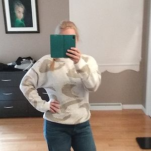 Vintage 80's gold and white sweater large